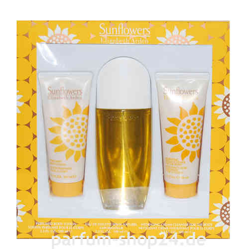 Elizabeth Arden Sunflowers Geschenk-Set - Eau de Toilette EdT Spray 100 ml + 100 ml BL + 100 ml SG