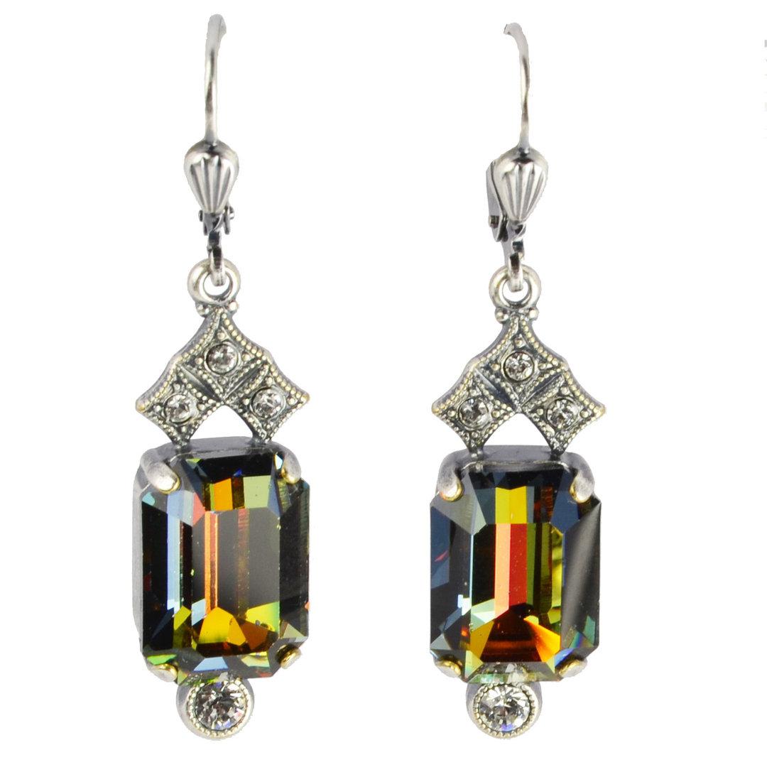 Grevenkämper Ohrringe Swarovski Kristall Rund Chandelier Vintage klar Crystal