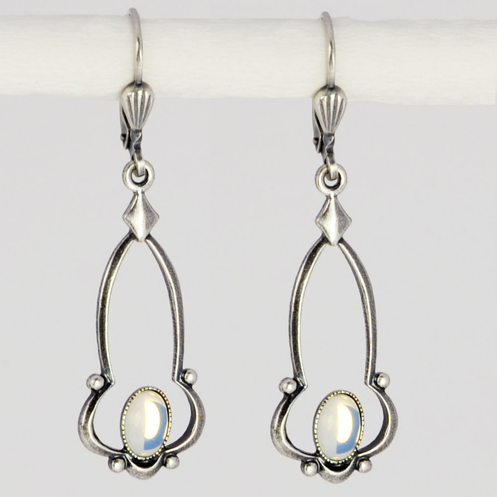 Grevenkämper Ohrringe Silber Opalglas Glasstein Oval Vintage